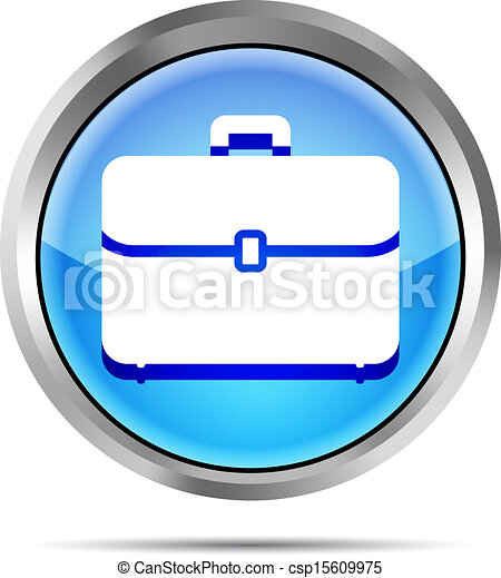 blue briefcase icon on a white back - csp15609975