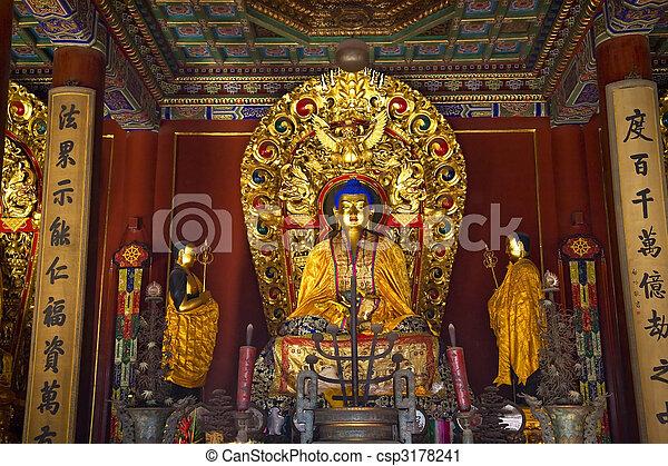 Blue Buddha Altar Details Yonghe Gong Buddhist Temple Beijing Ch - csp3178241
