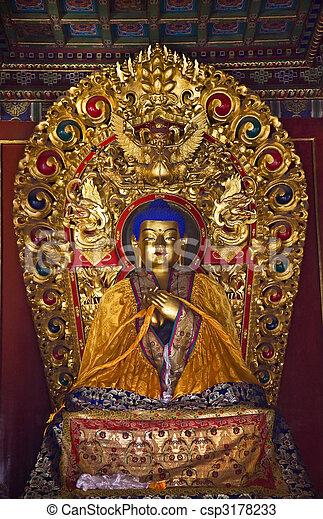 Blue Buddha Details Yonghe Gong Buddhist Temple Beijing China - csp3178233
