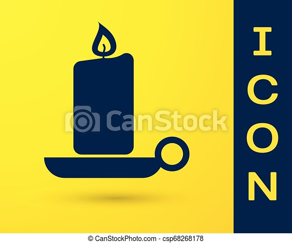 Blue Burning candle in candlestick icon isolated on yellow background. Old fashioned lit candle. Cylindrical aromatic candle stick with burning flame. Vector Illustration - csp68268178