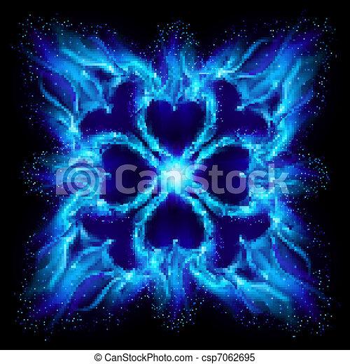 Blue burning fire cross - csp7062695