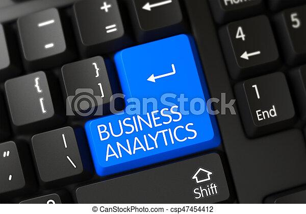 Blue Business Analytics Key on Keyboard. 3D. - csp47454412