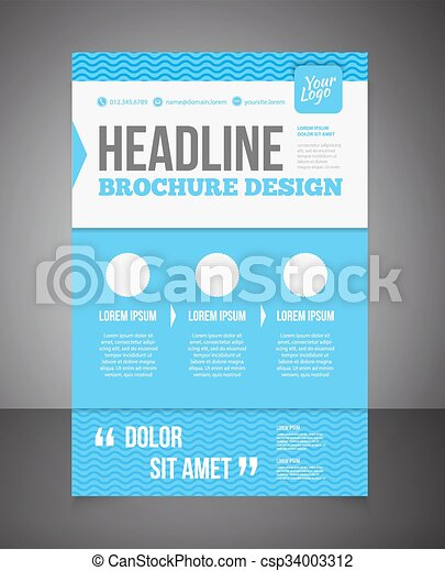 Blue Business Brochure Or Offer Flyer Design Template  Vector