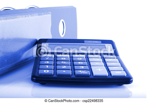 Blue business concepts clip folders and calculator - csp22498335