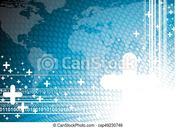 Blue business illustration with world map background. - csp49230746