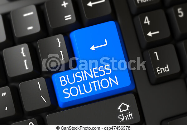 Blue Business Solution Button on Keyboard. 3D. - csp47456378