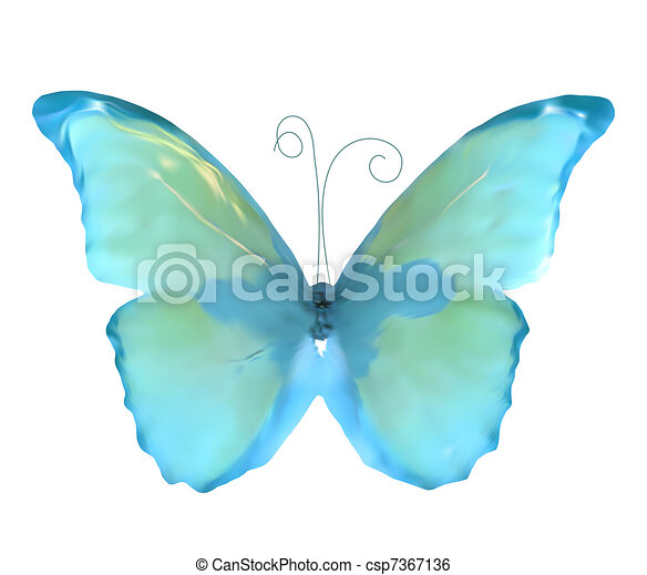 Blue butterfly insect isolated. Vector - csp7367136