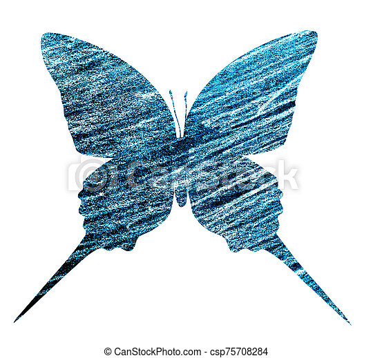 Blue butterfly , isolated on white - csp75708284