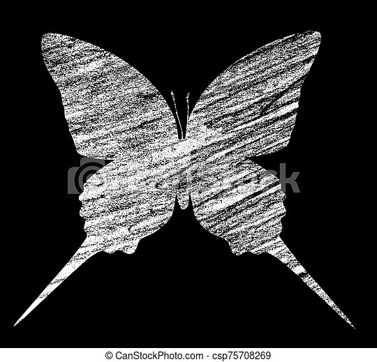 Blue butterfly , isolated on white - csp75708269