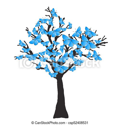 Blue Butterfly Tree - csp52408531
