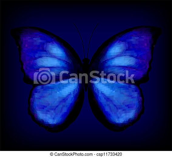 Blue butterfly. Vector - csp11733420
