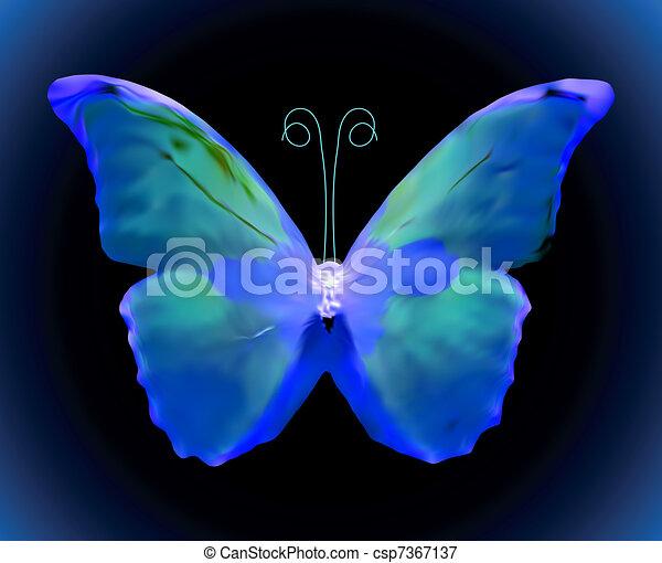 Blue butterfly. Vector - csp7367137