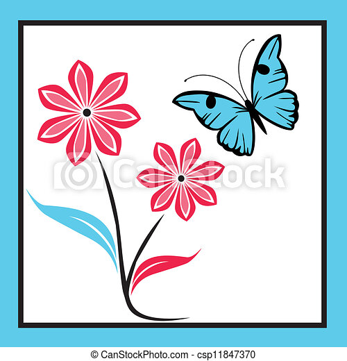 blue butterfly with flowers - csp11847370