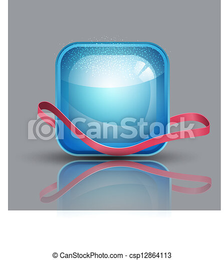 blue button and a pink ribbon - csp12864113