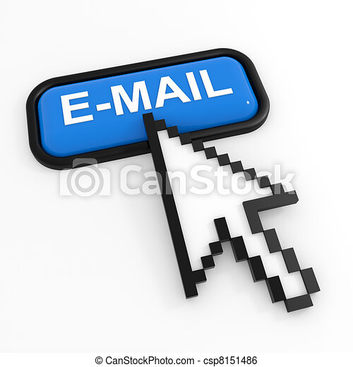 Blue button E-MAIL with arrow cursor. - csp8151486