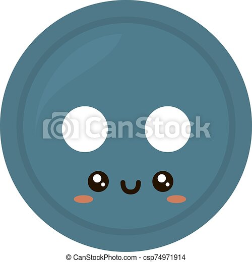 Blue button, illustration, vector on white background. - csp74971914