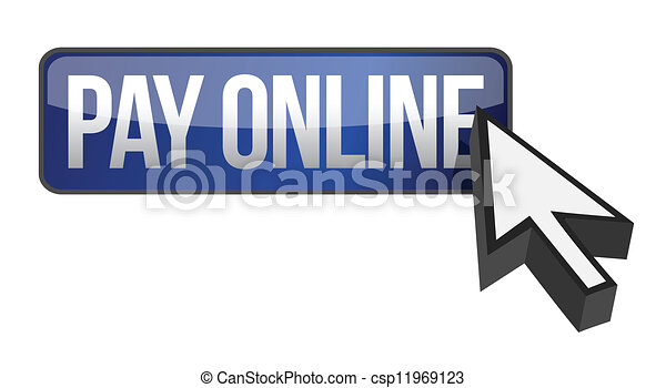 Blue button PAY ONLINE and cursor - csp11969123