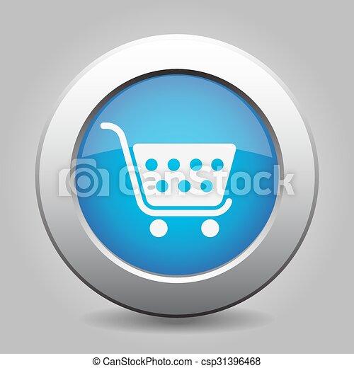 blue button - shopping cart - csp31396468