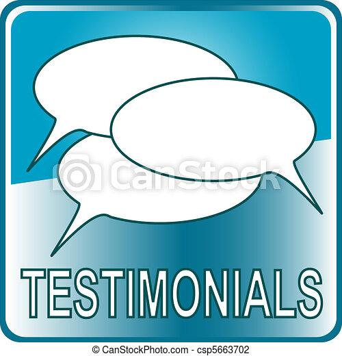 blue Button Web icon testimonials - csp5663702