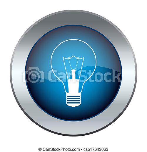 Blue button with a light bulb - csp17643063