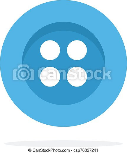 Blue button with four holes flat isolated - csp76827241