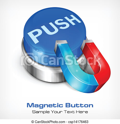Blue button with magnet - csp14176463