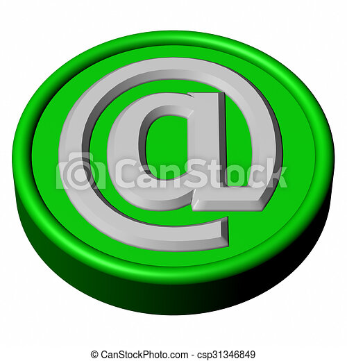 Blue button with sign e-mail - csp31346849