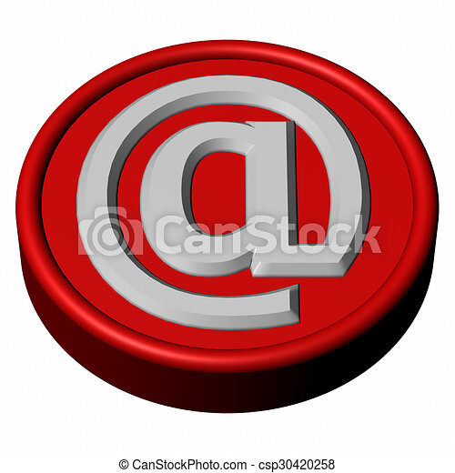 Blue button with sign e-mail - csp30420258