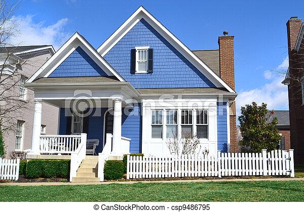 Blue Cape Cod Style House - csp9486795