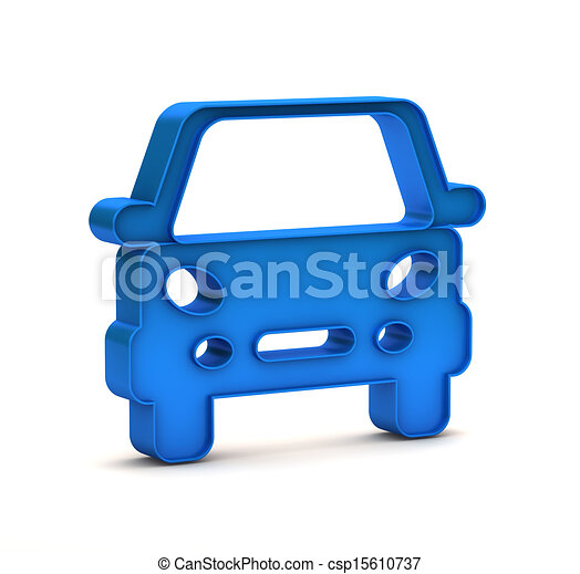blue car button icon on a white background - csp15610737