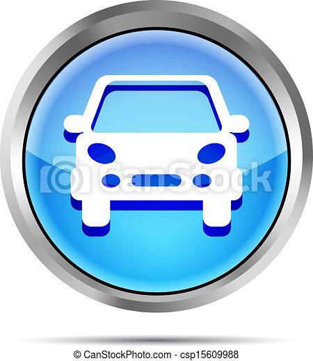 blue car button icon on a white - csp15609988
