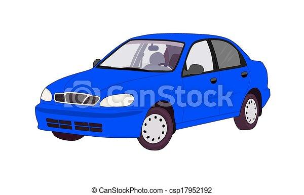 Blue car.   - csp17952192