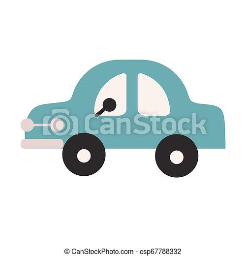 Blue car flat illustration on white - csp67788332