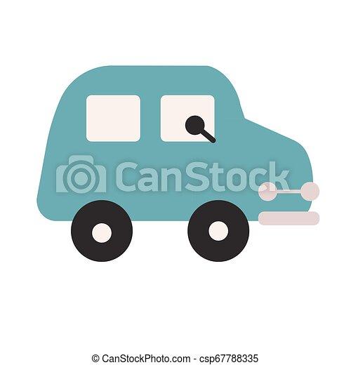 Blue car flat illustration on white - csp67788335