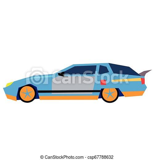 Blue car flat illustration on white - csp67788632
