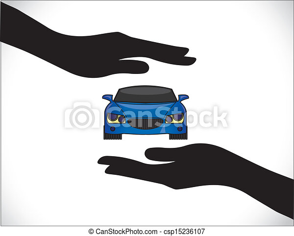 Blue Car Insurance Protection Hand` - csp15236107