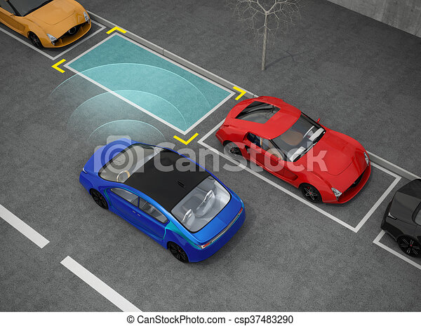 Blue car searching parking space