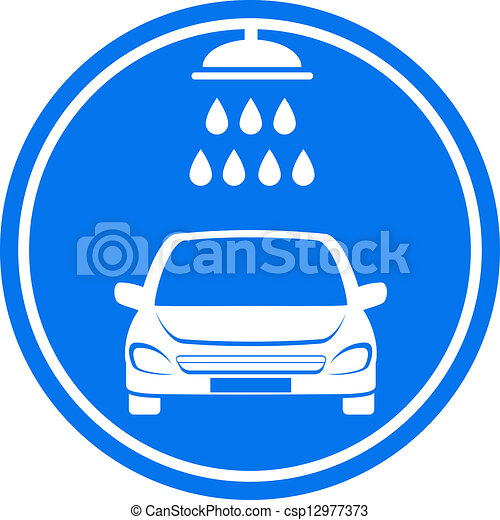 blue car wash icon - csp12977373