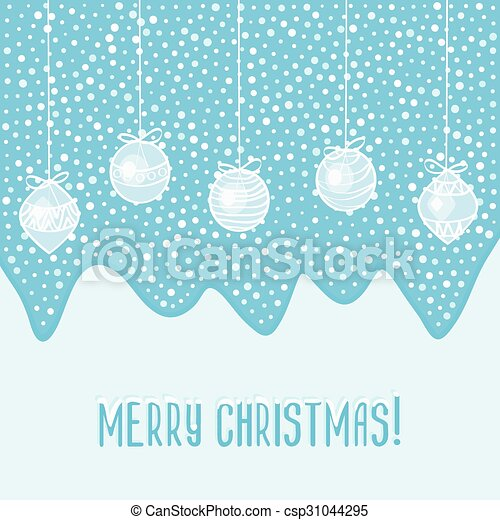 blue card with Christmas balls - csp31044295