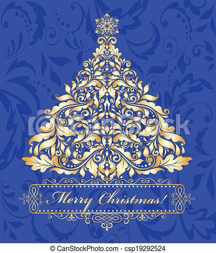 Blue card with golden christmas tree - csp19292524
