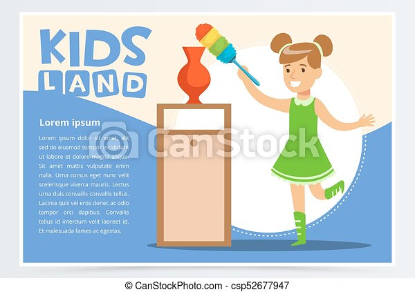 Blue card with smiling girl cleaning room with the dust brush. Kid doing a home cleanup, household chores. Colorful flat style cartoon vector illustration. - csp52677947