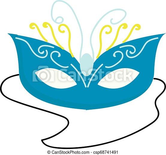 Blue carnival mask vector illustration on white background - csp68741491