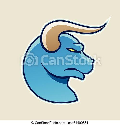 Blue Cartoon Bull Icon Vector Illustration - csp61409881
