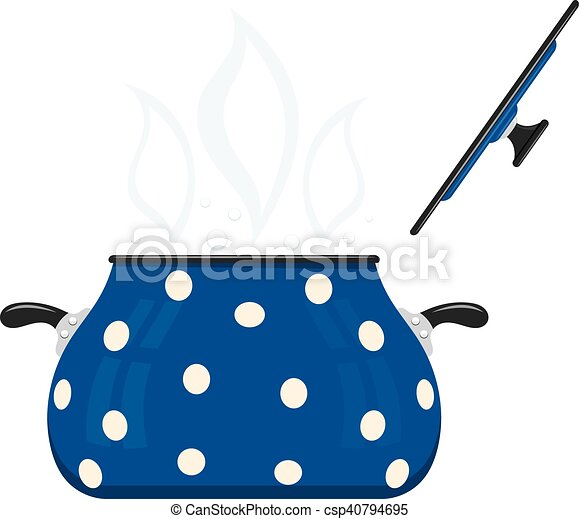 Blue cartoon saucepan with lid open on a white background. Kitchen utensils. Color image blue pots. Stock vector - csp40794695