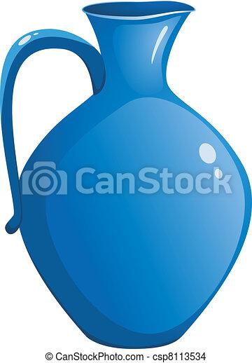 Blue ceramic pitcher. vector - csp8113534