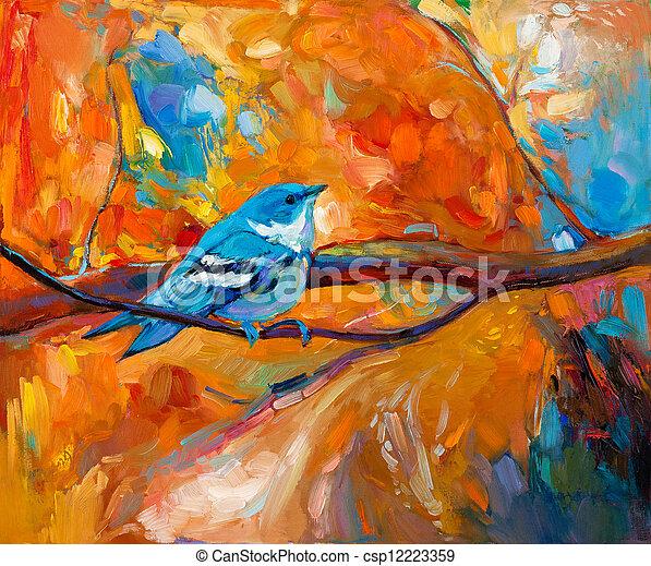 Blue Cerulean Warbler bird - csp12223359