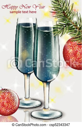 Blue champagne glasses New Year card. Happy holidays Vector - csp52343347