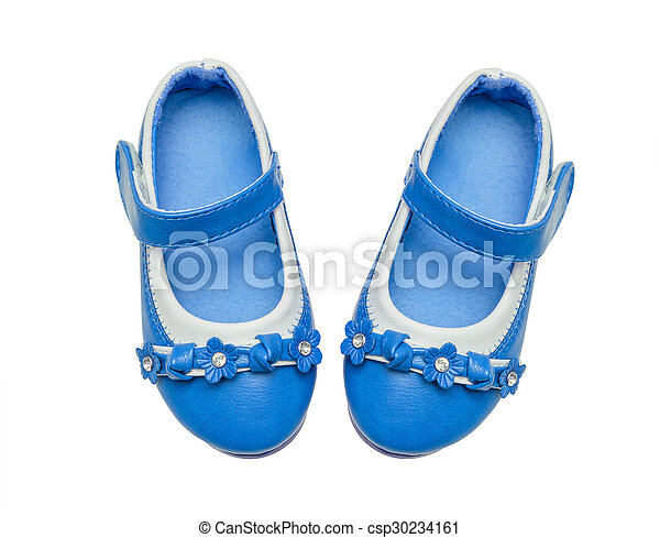 Blue child shoes isolated over white background - csp30234161