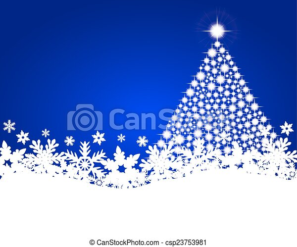 Blue christmas background with shiny Christmas tree - csp23753981