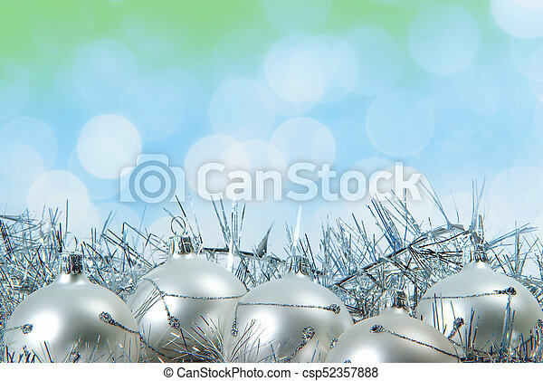 Blue Christmas Background With Silver Glass Ball